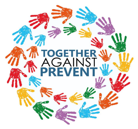 Hands logo. Together. Against. Prevent.